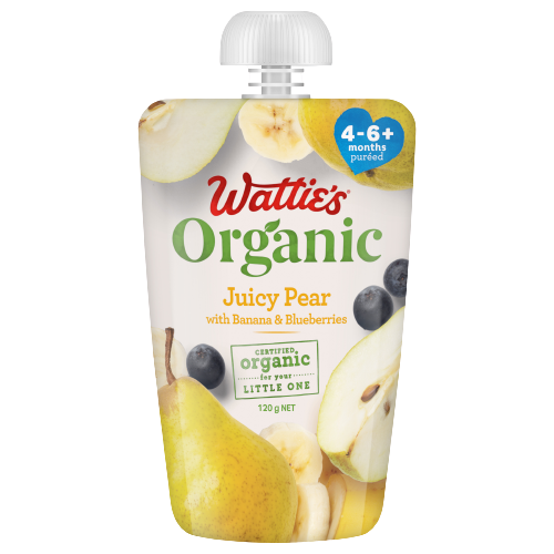 Wattie's Organic Juicy Pear with Banana & Blueberries