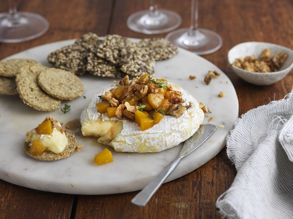 Baked Brie with Honeyed Peaches & Walnuts