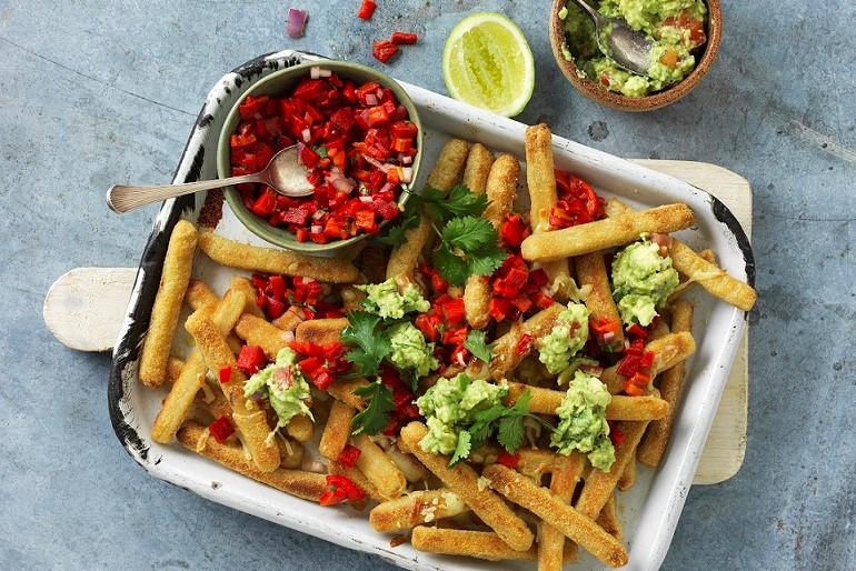 Loaded Cauliflower Fries With Guacamole & Salsa