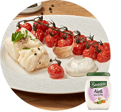 Dos de cabillaud rôti à l'ail et tomates cerises au four