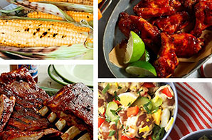 Summer Barbecue Ribs & Wings Menu for 6 to 8 People