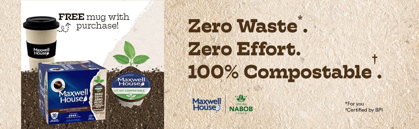 Zero Waste. Zero Effort. 100% Compostable. Purchase your Sustainable Coffee Bundle today.
