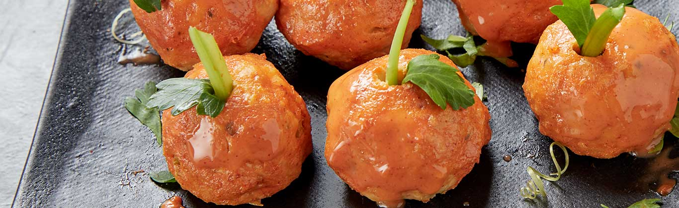 Halloween Buffalo Chicken Meatballs