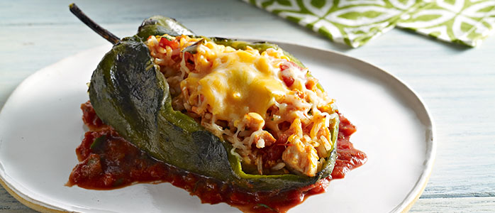 Piments poblano farcis (Chiles Rellenos)